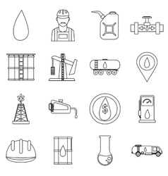 Oil industry icons set outline style vector