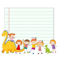 Paper design with children and dinosaur vector