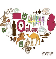 Qatar symbols in heart shape concept vector
