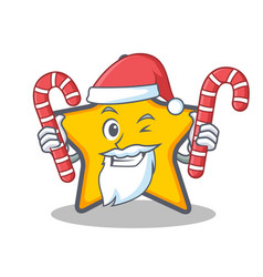 Santa with candy star character cartoon style vector