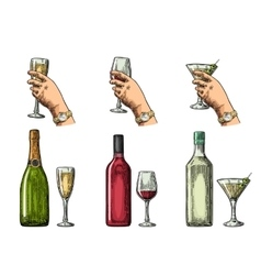Set alcohol drinks with bottle glass and hand vector