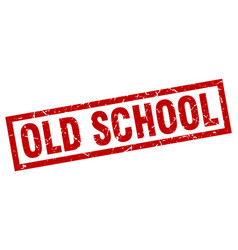 square grunge red old school stamp vector image vector image
