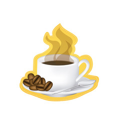 sticker image color with hot cup of coffee serving vector image vector image