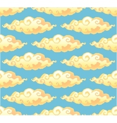 Yellow curly cartoon style clouds on blue vector image
