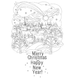 Merry christmas lettering greeting card design vector