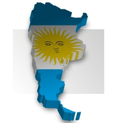 Three dimensional map of Argentina in flag colors vector image