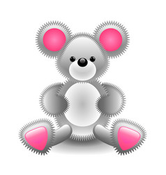 Cute gray mouse soft toy isolated on white vector