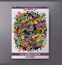 Cartoon doodles sale poster vector