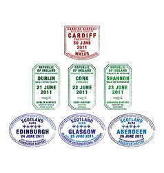 Uk passport stamps vector