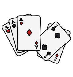Full house of poker cards vector
