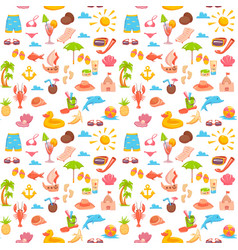 Elements for seaside vacation semless pattern vector