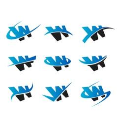 Alphabet w logo icons vector