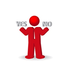 Busines man person presents yes and no words vector
