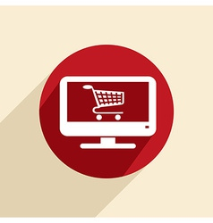 Monitor with symbol shopping cart vector