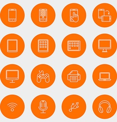 Set of thin line multimedia and devices icons vector