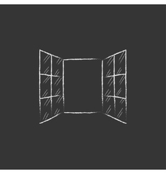Open windows drawn in chalk icon vector