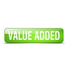 Value added green square 3d realistic isolated web vector
