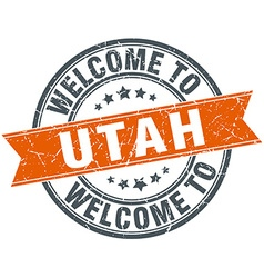 Welcome to utah orange round ribbon stamp vector