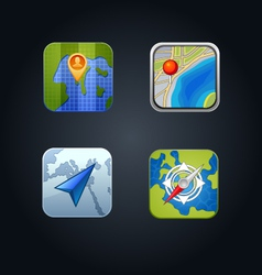 Apps gps icon set vector