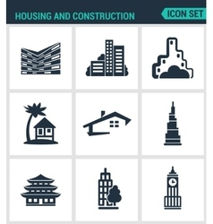 Set of modern icons housing and vector