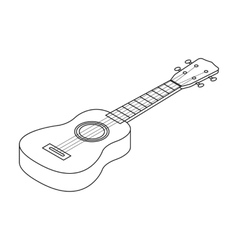 Acoustic bass guitar icon in outline style vector