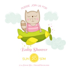 Baby Girl Cat Flying on a Plane Baby Shower Card vector image