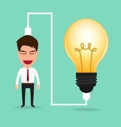 Businessman charging idea from lightbulb vector image