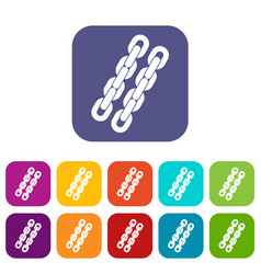Chains icons set flat vector