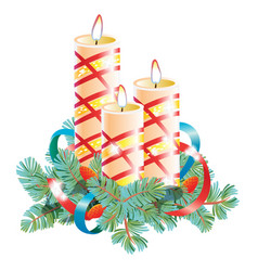 Christmas decorative composition of three candles vector