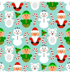 Christmas seamless pattern with characters blue vector