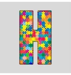 Color Puzzle Piece Jigsaw Letter - H vector image
