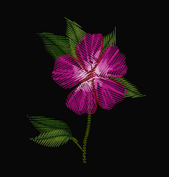 Colorful azalea flower plant embroidery in black vector