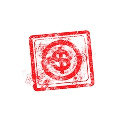 Dollars sign icon red grunge rubber stamp vector