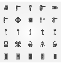 Door lock icons set vector