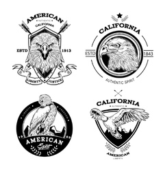 Eagle monochrome emblems set vector