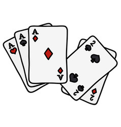Full house of poker cards vector