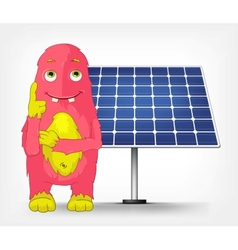 Funny monster thinking about solar energy vector