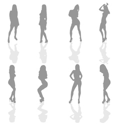 girl in silver color silhouette vector image