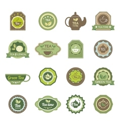 Green tea labels icons set vector image vector image