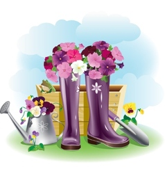 Gumboots and flowers vector