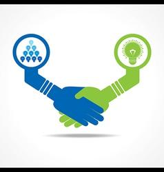 handshake between leadership and teamwork vector image vector image