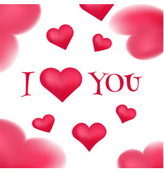 i love you banner with pink hearts vector image vector image