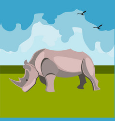 icon of the rhinoceros animals of africa vector image vector image