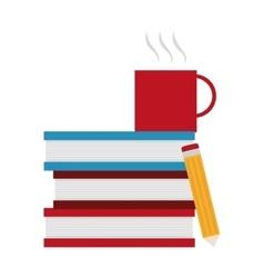 Isolated books mug and pencil design vector