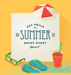 say hello to summer template vector image vector image