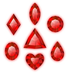 Set of red gems isolated on white vector image vector image