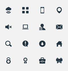 Set of simple interface icons elements grid vector