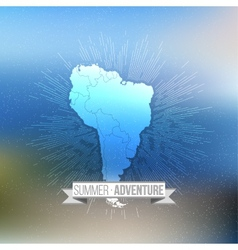 Summer adventure poster South america map with vector image