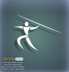 Summer sports javelin throw icon on the blue-green vector