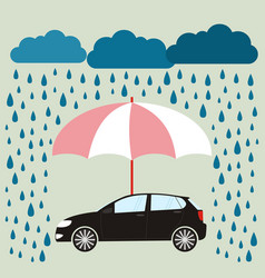 Umbrella protecting car against rain flat style vector